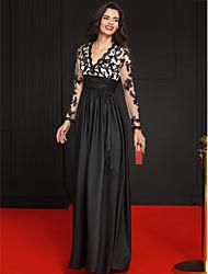 TS Couture® Formeller Abend Kleid - Promi-Stil A-Linie V-Ausschnitt Boden-Länge Spitze / Taft mit Applikationen