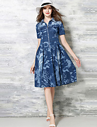 Women's Work Vintage A Line / Sheath Dress,Print Shirt Collar Knee-length Short Sleeve Blue Cotton Summer