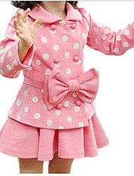 Two Pcs Bow Dots Coat Girls Skirt Suit