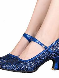 Non Customizable Women's Dance Shoes Latin Satin Chunky Heel Black / Blue / Silver / Gold