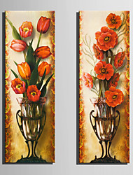 E-HOME® Stretched Canvas Art Red Flowers In A Vase Decoration Painting  Set of 2