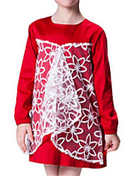 Girls Long Sleeve Red Floral Lace Mesh Dress
