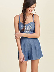 Women's Print Blue Jumpsuits,Casual / Day Strap Sleeveless
