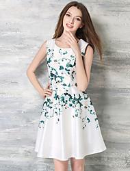 Women's Party/Cocktail Vintage A Line / Skater Dress,Print Round Neck Knee-length Sleeveless White Silk Summer