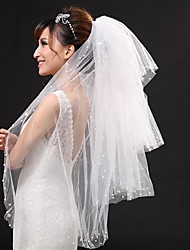Wedding Veil Three-tier Fingertip Veils Cut Edge Tulle White