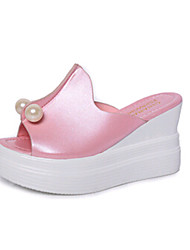 Women's Shoes PU Wedge Heel Slippers Sandals / Slippers Outdoor / Dress / Casual Blue / Red / White
