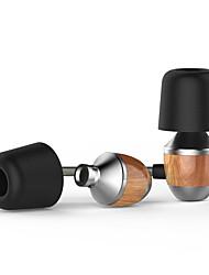 vjjb K4S premium cordon de bois véritable écouteurs intra-auriculaires bruit de basse lourde annulation pour smartphone avec micro