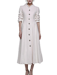 Women's Casual/Daily Simple Coat,Solid Long Sleeve White Polyester