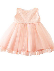 Girl's Pink Dress,Lace Cotton Summer
