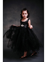 Ball Gown Ankle-length Flower Girl Dress - Satin / Tulle Sleeveless Jewel with