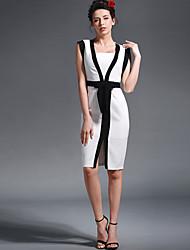 Baoyan® Mujer Escote Cuadrado Manga Corta Sobre la Rodilla Vestidos-150251