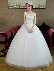 Ball Gown Wedding Dress Floor-length Straps Lace / Satin / Tulle with Beading / Lace