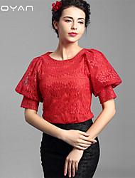 Baoyan® Femme Col Arrondi 1/2 Longueur de manches Shirt et Chemisier Rouge-160104