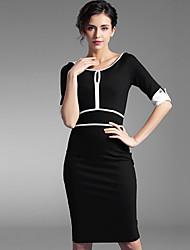 Baoyan® Femme Col Arrondi Manches 1/2 Au dessus des genoux Robes-160039