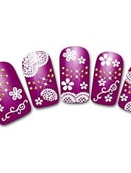 floco de neve / leopardo / laço da flor branco / preto adesivo 3d prego