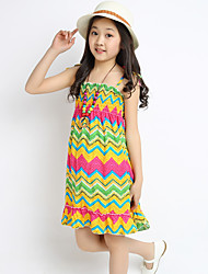 Girl's Yellow Dress,Striped Cotton / Polyester Summer
