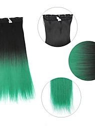 """Neitsi® 110g 22""""Full Head 5clips Kanekalon Synthetic Hair Pieces Clip In/on Straight Extensions T-Green#"""