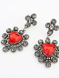 Vintage Women Beautiful Red Rhinestone Heart-shaped Pierced Drop Earrings Fashion Party Weeding Jewelry