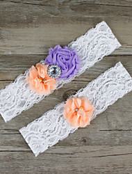 2pcs/set Purple And Orange Satin Lace Chiffon Beading Wedding Garter
