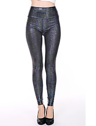 Hot Sale Women Sexy Printde PU Legging,Nylon / PU / Spandex Thin Elastic Pencil Pants Ankle-length pants