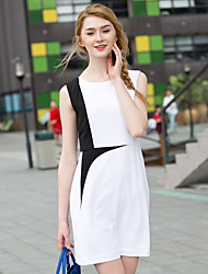 Zishangbaili® Mujer Escote Redondo Sin Mangas Hasta la Rodilla Vestidos-XZ52116