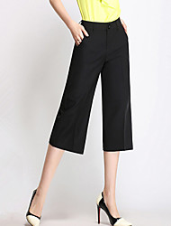 Women's Solid Black Suit Pants,Plus Size / Simple