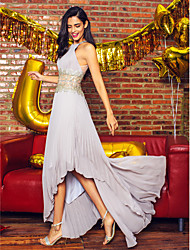 TS Couture® Prom  Formal Evening Dress A-line Jewel Asymmetrical Chiffon with Beading / Draping
