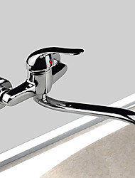 Wall Mounted Single Handle Two Holes Brass with Chrome Kitchen Faucet Swivel Spout Sink Mixer Water Tap