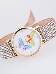 Women's European Style New Fashion Casual Trend Rhinestone Colorful Butterfly Bracelet Watch