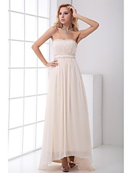 A-Line Strapless Asymmetrical Chiffon Prom Formal Evening Dress with Beading Draping