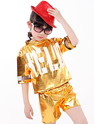 Shall We Jazz Outfits Kid Children Performance Splicing  Top Shorts