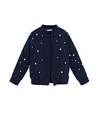 Women's Polka Dot Blue Padded Coat,Simple Round Neck Long Sleeve