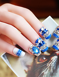 24pcs/set Fake Nails False Nail Finished Manicure Nails Tips Blue Diamond