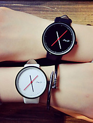 Men's Women's Unisex Fashion Watch Quartz PU Band Black White
