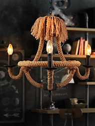 Retro Chandeliers Lamps Indoor Lighting Palatial Hemp Rope Candle Sitting Room  Coffee Bars Parlour Light Fixture