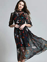 Women's Party/Cocktail Vintage Sheath / Chiffon Dress,Floral Turtleneck Midi Long Sleeve Black Silk Summer