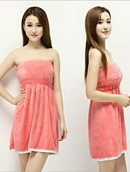 New Women Lady Coral Velvet Soft Bra  Bath Bathrobe Towel Skirt Dress
