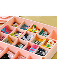 15 Case Underwear Socks Ties Bras Wardrobe Organizer Drawer Pink Storage PP Plastic Box