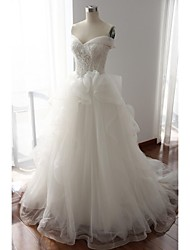 A-line Wedding Dress Court Train Off-the-shoulder Lace / Tulle with Beading / Lace / Pearl