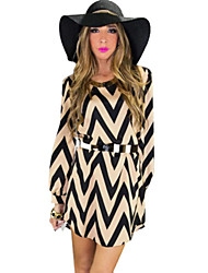 Women's Striped Black Dress , Sexy Round Neck Long Sleeve