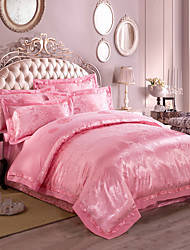 Pink Queen King Size Bedding Set Luxury Silk Cotton Blend Duvet Cover Sets