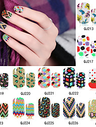 6PCS QJ-Q211-226 Full Nail Stickers 16 different designs ,12 Decals/PCS(Pack of 6 Random Sheets)