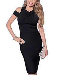Women's Sexy / Simple Solid Bodycon Dress,Asymmetrical Knee-length Cotton / Polyester