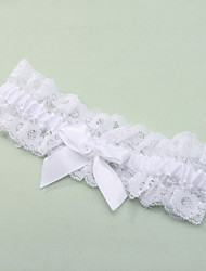 Garter Lace Polyester Bowknot Lace White