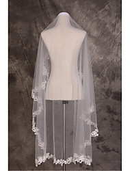 Wedding Veil One-tier Fingertip Veils / Chapel Veils Cut Edge / Lace Applique Edge Tulle / Lace Beige