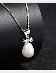 Vintage Fresh Water Simulated Pearl Pendant Statement Bowknot Necklace Real 925 Silver Link Chain Women  Jewelry