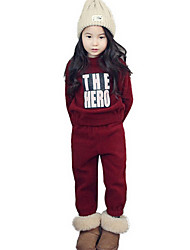 Girl's Red Clothing Set Cotton Fall