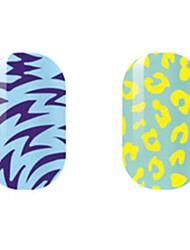 фиолетовый / желтый полые наклейки для ногтей