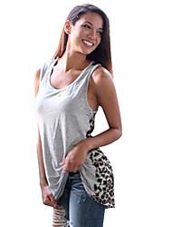 Mulheres Malha Íntima Praia Sensual / Moda de Rua Verão,Leopardo Cinza Poliéster Decote U Sem Manga Média