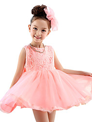 Girl's Pink Dress,Lace Mesh Patchwork Polyester Summer